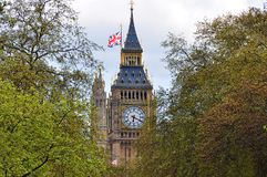 Big Ben through trees, London, Great Britain. Big Ben through trees, London, UK royalty free stock photo