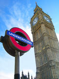 Big Ben Tube Underground Station London. London symbols: Big Ben Tower clock and underground sign Royalty Free Stock Photography