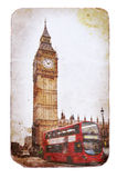 Big Ben und doppelstöckiger Bus in London stockfotografie