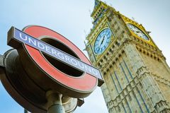 Big Ben Underground. London, United Kingdom - December 28, 2013: Transport for London underground station sign at Westminster. Selective focus on the sign. Big Stock Photography
