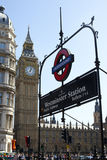 Big Ben & Underground Sign. Big Ben and the entrance Westminster Station in London Stock Photography