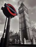 Big Ben & Underground sign in London Royalty Free Stock Photos