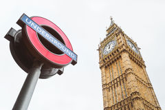 Big Ben and underground sign. London, UK Stock Photo