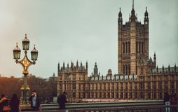 The big ben unfortunately under construction and the westminster abbey royalty free stock image