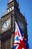Big Ben and Union Jack. Clock Face of Big Ben and Union Jack Flag, London, UK Stock Images