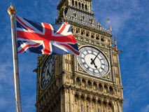 Big Ben and Union Jack. Union jack flagon pole  and Big Ben Royalty Free Stock Photo