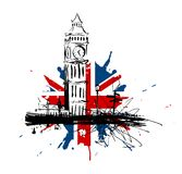 Big Ben and Union Jack. Illustration Big Ben and the Union Jack Royalty Free Stock Photo