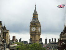 Big ben and united kingdom flag Royalty Free Stock Photo