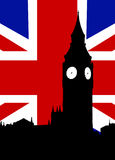 Big Ben And United Kingdom Flag. Houses of Parliament and the United Kingdom Flag Stock Images