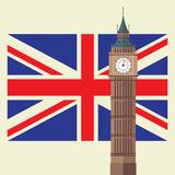 Big Ben with United Kingdom flag stock image