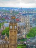 Big Ben view. From the top in London city, Big Ben top View, London skyline from London eye top, Great Britain Royalty Free Stock Photos