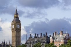 Big Ben with view of rooftops Stock Images