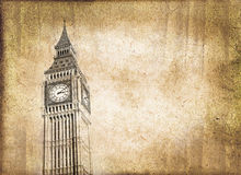 Big-Ben, vintage style sepia texture, London Royalty Free Stock Images