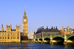Big Ben and Westminster bridge Royalty Free Stock Photo