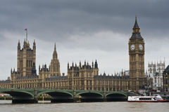 Big Ben and Westminster Bridge. Big Ben aka UK Parliament and Westminster Bridge Stock Photo
