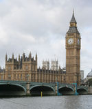 Big ben and westminster bridge Stock Image