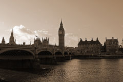 The Big Ben and Westminster Bridge. Sepia tones picture of the Big Ben and Westminster Bridge Royalty Free Stock Images