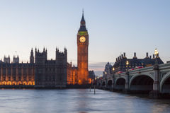 Big Ben and Westminster Bridge Royalty Free Stock Photos