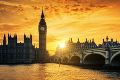 Big Ben and Westminster Bridge at dusk Royalty Free Stock Photo