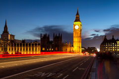 Big Ben and Westminster Bridge at dusk, London, UK Royalty Free Stock Images