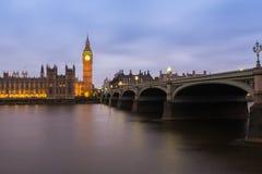 Big Ben and westminster bridge at dusk. Big Ben and westminister bridge in London, at dusk Royalty Free Stock Photography