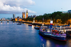 Big Ben and Westminster Bridge in the Evening Royalty Free Stock Photography