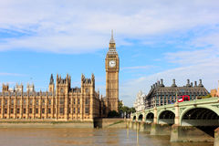 Big ben, westminster bridge and houses of parliament in london. Most famous place in london Royalty Free Stock Images