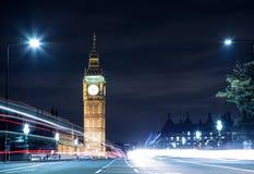 Big Ben. Westminster Bridge lights on Big Ben Royalty Free Stock Photography
