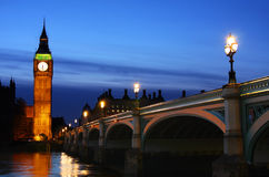Big Ben & Westminster Bridge in London Royalty Free Stock Image