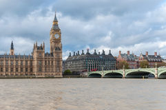 Big Ben and Westminster Bridge in London Stock Images