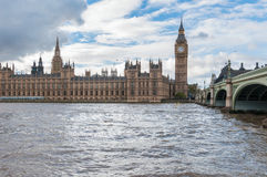 Big Ben and Westminster Bridge in London Royalty Free Stock Image