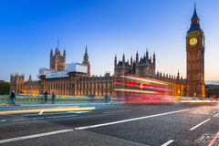 Big Ben and Westminster Bridge in London at dusk Stock Photography