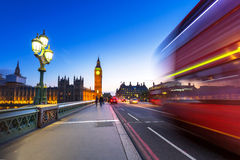 Big Ben and Westminster Bridge in London at night Stock Photo