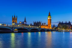 Big Ben and Westminster Bridge in London at night Royalty Free Stock Images