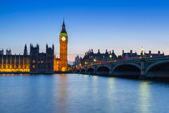 Big Ben and Westminster Bridge in London at night Royalty Free Stock Photo