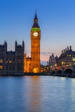 Big Ben and Westminster Bridge in London at night Stock Images
