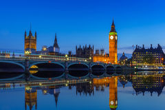 Big Ben and Westminster Bridge in London at night Stock Image