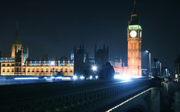 Big Ben and Westminster Bridge in London Stock Photography