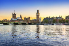 Big Ben and Westminster Bridge in London at sunset Stock Photo