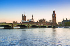Big Ben and Westminster Bridge in London at sunset Royalty Free Stock Image