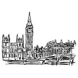 Big Ben and westminster bridge in London - vector illustration s. Ketch hand drawn isolated on white background Stock Image