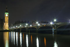 The Big Ben and Westminster Bridge at night Royalty Free Stock Photos