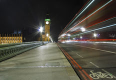 The Big Ben and Westminster Bridge at night Royalty Free Stock Photography