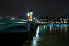 The Big Ben and Westminster Bridge at night Stock Photo