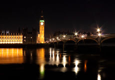 The Big Ben and Westminster Bridge at night Royalty Free Stock Photo