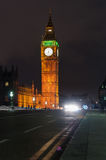 Big Ben and Westminster Bridge at night Royalty Free Stock Images
