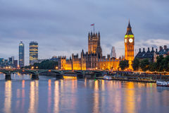 Big Ben and Westminster Bridge at night Royalty Free Stock Photo