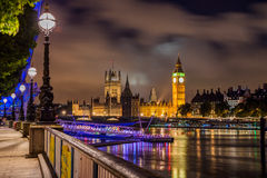 Big Ben and Westminster Bridge at night Stock Image