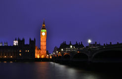 Big Ben and Westminster Bridge at night Stock Images