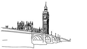 Big Ben and Westminster Bridge Outline Animation